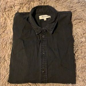 Madewell black denim button up